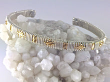 Load image into Gallery viewer, Cuff Bracelet Gold and Silver Pattern Unisex Small/Medium Argentium Silver and 14 Karat Yellow Gold Filled Wire Wrapped Jewelry