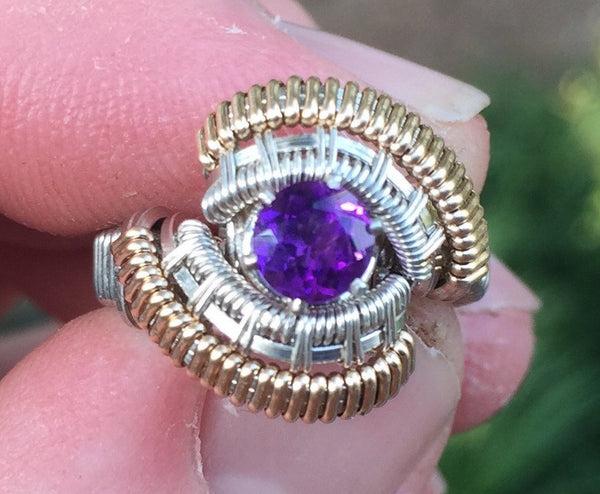 Spartan Amethyst Wire Wrapped Ring