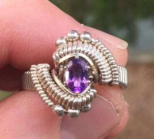 Classic Bead Wire Wrapped Amethyst Ring Oval Gemstone