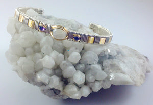 Rainbow Moonstone and Amethyst Gemstone Wire Wrap Cuff Bracelet
