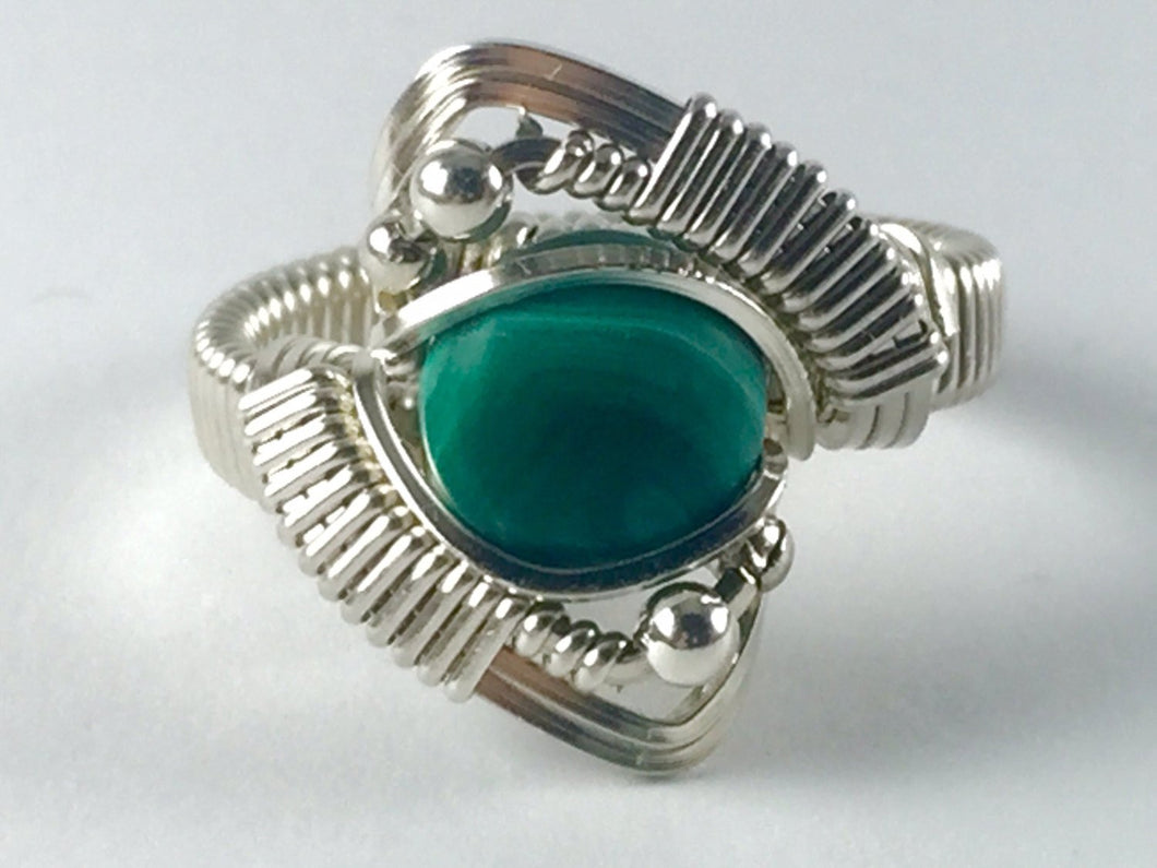 Malachite Ring Wire Wrapped Argentium Fine Silver
