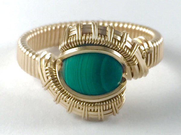 Gold Malachite Ring Wire Wrapped All 14 Karat Yellow Gold Filled Wire