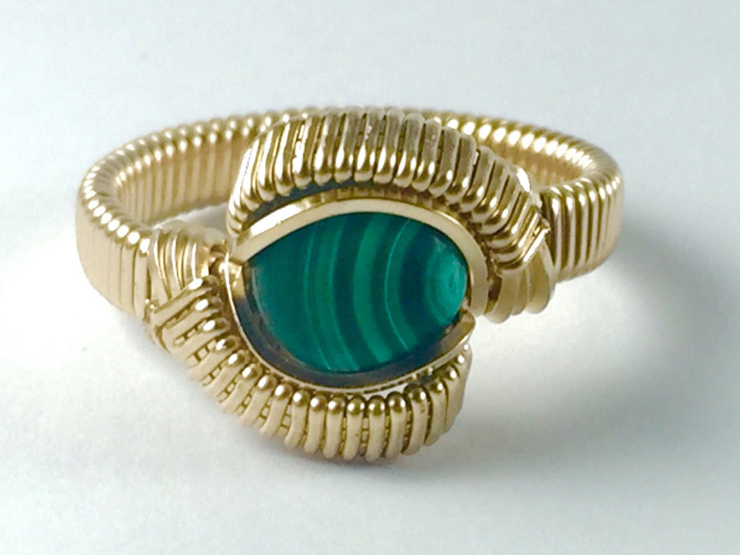 Gold Malachite Ring All 14 Karat Yellow Gold Filled Wire