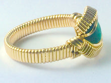 Load image into Gallery viewer, Gold Malachite Ring All 14 Karat Yellow Gold Filled Wire