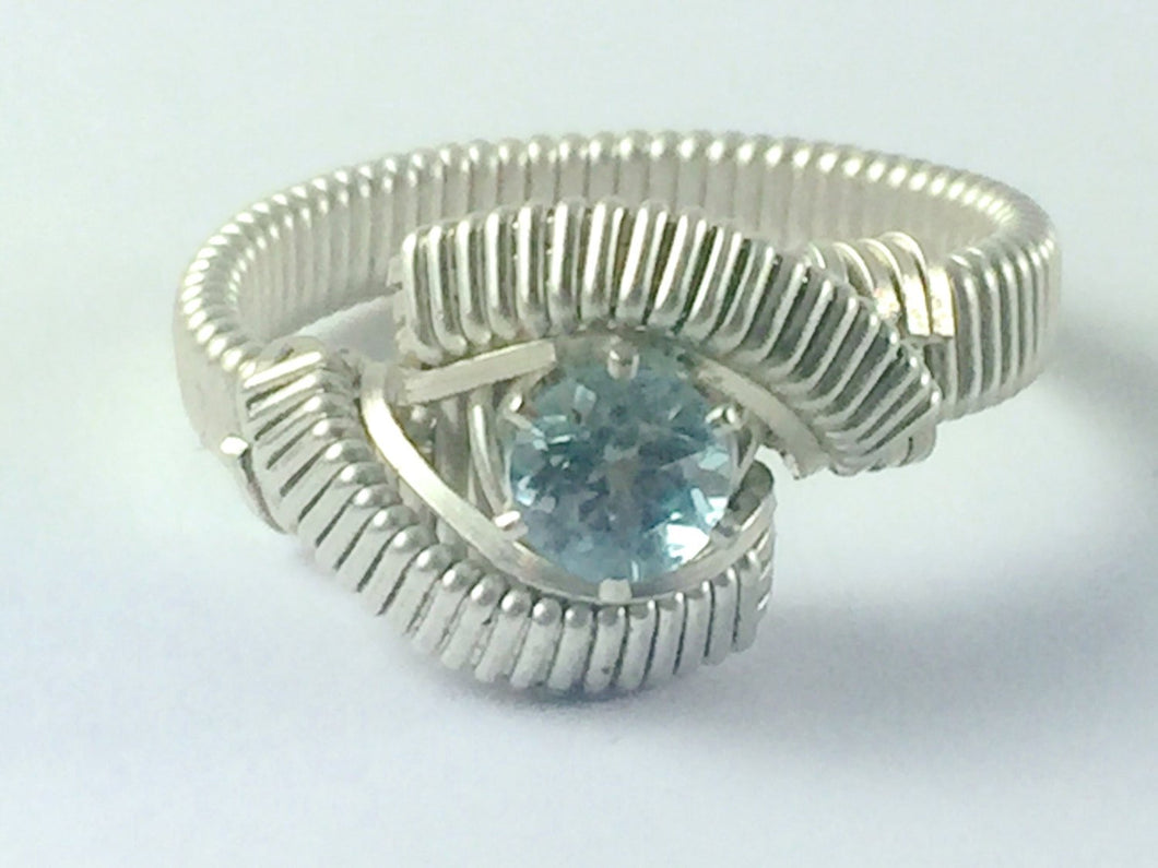 Sky Blue Topaz Ring All Natural Gemstone Argentium Fine Silver Wire Wrapped Jewelry