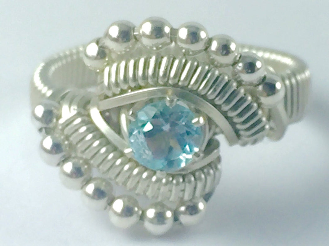 Sky Blue Topaz Ring Argentium Fine Silver Wire Wrapped Jewelry