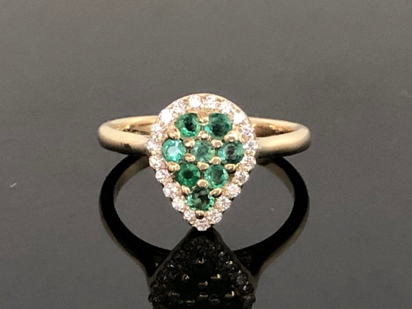 Emerald Teardrop Pave Ring