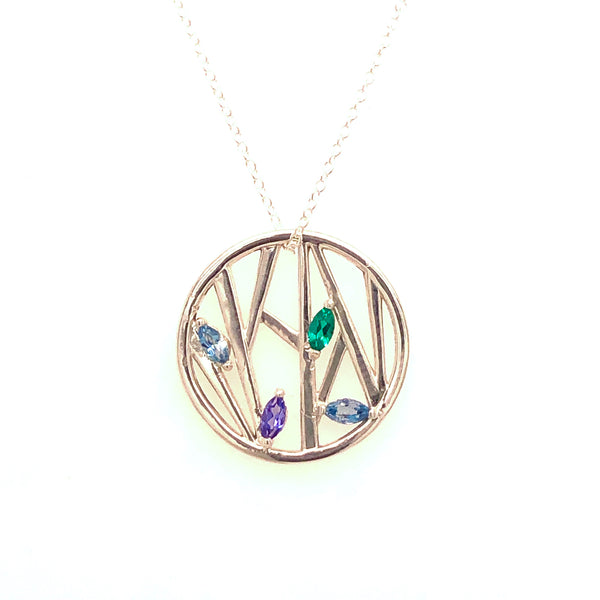 Bamboo Leaves Gemstone Pendant