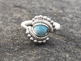 Petite Beaded Larimar Ring