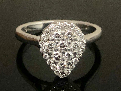 Diamond Pave Teardrop Engagement Ring