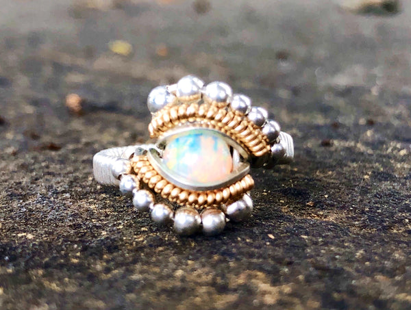 Petite Beaded Ethiopian Opal Wire Wrap Ring