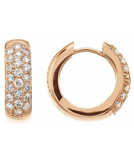 Pave Hinged Gold Earrings