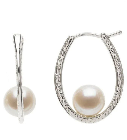 Fresh Water Pearl Silver Oval Hoops