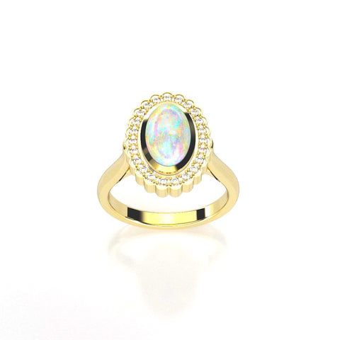 Scalloped Opal Ring