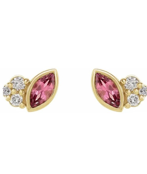 Accented Marquis Pink Tourmaline Earrings