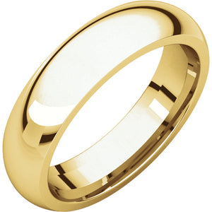 5 mm Yellow Gold Comfort Fit Classic Wedding Band