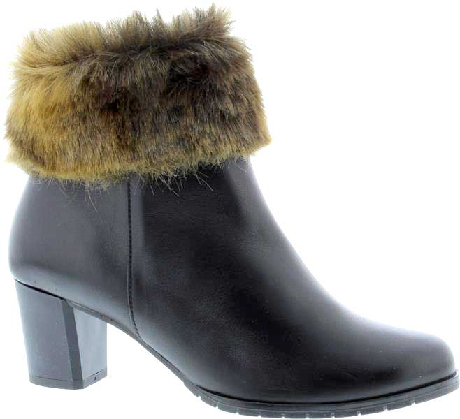 Capollini-Autumn-Black-Fur-Trim-Heeled-Ankle-Boot-G629