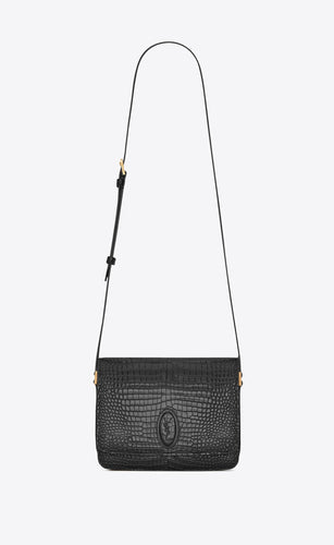 SAINT LAURENT - LE 61 MEDIUM SADDLE  BAG IN CROCODILE-EMBOSSED SHINY LEATHER