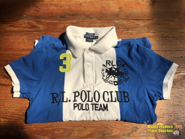 Ralph Lauren Polo Shirt Ladies Xl White/blue (212830)
