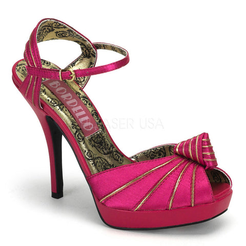 Bordello Preen 16 Fuchsia Satin Stiletto 4.75 inch High Heel Ankle Wrap Sandals