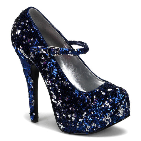 Bordello Teeze 07SQ Blue/Silver Sequins Mary Jane Stiletto 5.75 inch High Heels