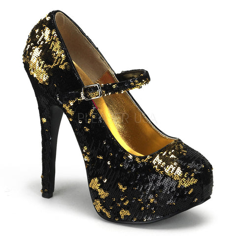 Bordello Teeze 07SQ Black and Gold Sequins Mary Jane Stiletto 5.75 inch High Heels