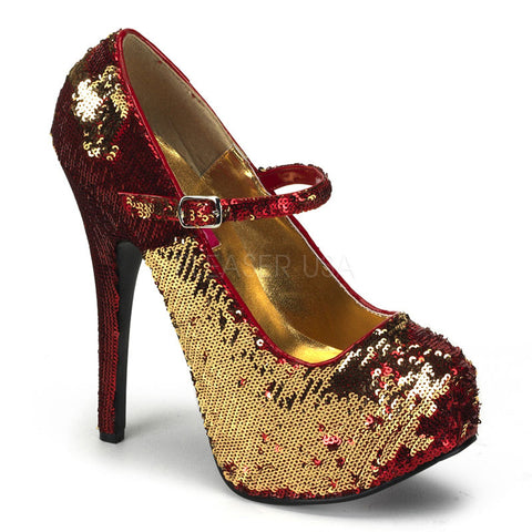 Bordello Teeze 07SQ Red and Gold Sequins Mary Jane Stiletto 5.75 inch High Heels