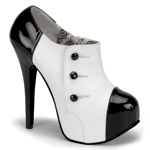 Bordello Teeze 20 White and Black Faux/Patent Leather Stiletto 5.75 inch High Heel Booties