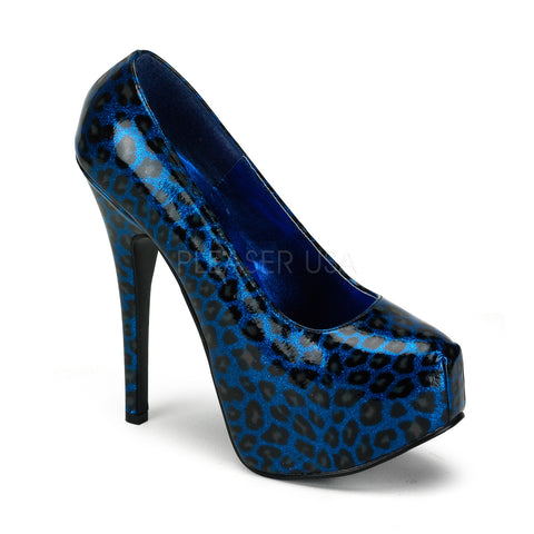 Bordello Teeze 37 Blue Cheetah Print Glitter Patent Leather Stiletto 5.75 inch High Heels