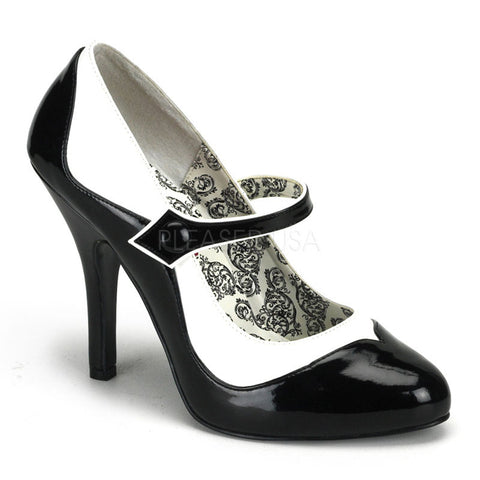 Bordello Tempt 07 Black and White Faux Leather Mary Jane 4.5 inch High Heels