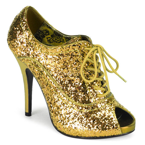 Bordello Wink 01G Gold Glitter Stiletto 4.75 inch High Heel Booties