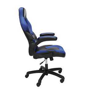 OFM Essentials Collection Racing Style Bonded Leather Gaming Chair, in Blue