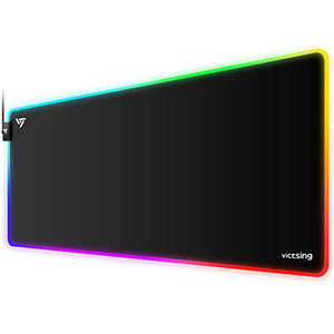 VicTsing [30% Larger] RGB Gaming Mouse Pad, 12 Lighting Modes, 31.5×15.75×0.2 In, Large Mouse Pad, Non-Slip Rubber Base, Waterproof Computer Keyboard Mouse Mat Foam Board For Gamer/Esports Pros/Office