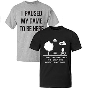 Video Gamer Shirts Gaming T Shirts | 2 Pack | I Paused My Game I Went Outside Men (2 Gray and Black, Small)