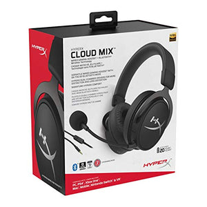 HyperX Cloud Mix Wired Gaming Headset + Bluetooth - Game and Go - Detachable Microphone - Signature HyperX Comfort - Lightweight - Multi Platform Compatible - Black