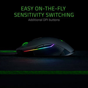 Razer Lancehead Tournament Edition Ambidextrous Gaming Mouse: 16K DPI Optical Sensor - Chroma RGB Lighting - 8 Programmable Buttons - Mechanical Switches - Classic Black