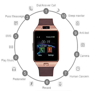 OUYAWEI Electronic DZ09 Smart Watch Bluetooth Positioning Mobile Phone Card Pedometer Anti-Lost Wearable Device Gold