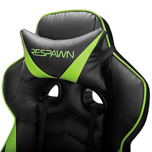 RESPAWN 110 Racing Style Gaming Chair, Reclining Ergonomic Leather Chair with Footrest, in Green