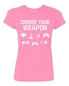 P&B Choose Your Weapon Gamer Funny Women's T-Shirt, XL, Azalea Pink