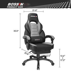 Gaming Chair Racing Style Office Ergonomic Chair High-Back PU Leather Design PC Computer Gaming Chair Adjustable Height Swivel Chair with Footrest, Headrest and Lumbar Support (Grey 1)