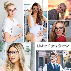 Livho 2 Pack Blue Light Blocking Glasses, Computer Reading/Gaming/TV/Phones Glasses for Women Men,Anti Eyestrain & UV Glare (Leopard+Clear)
