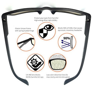 J+S Vision Blue Light Shield Computer Reading/Gaming Glasses - 0.0 Magnification - Anti Blue Light 100% UV Protection Low Color Distortion, Classic Black Frame - Essential Gaming Gear
