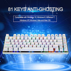 E-Element Z-88 60% RGB Mechanical Gaming Keyboard, Brown Switch, LED Backlit, Water Resistant, Compact 81 Keys Anti-Ghosting for Mac PC, White