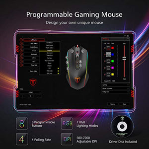 PICTEK Gaming Mouse Wired, 8 Programmable Buttons, Chroma RGB Backlit, 7200 DPI Adjustable, Comfortable Grip Ergonomic Optical PC Computer Gaming Mice with Fire Button, Sega Genesis Accessories