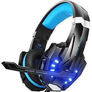 BENGOO G9000 Gaming Headset Professional 3.5mm PC LED Light Game Bass Headphones Stereo Noise Isolation Over-ear Headset Headband with Mic Microphone For PS4 Laptop Computer and Smart Phone