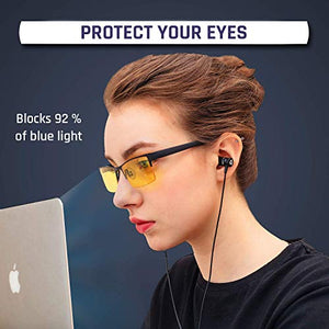 KLIM Optics Blue Light Blocking Glasses + Reduce Eye Strain and Fatigue + Gaming Glasses for PC Mobile TV + Blocks 92% Blue Light + Computer Glasses with UV Protection + New 2020 Version