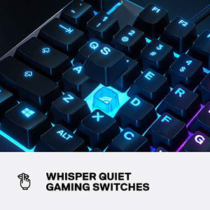 SteelSeries Apex 3 RGB Gaming Keyboard – 10-Zone RGB Illumination – IP32 Water Resistant – Premium Magnetic Wrist Rest (Whisper Quiet Gaming Switch)