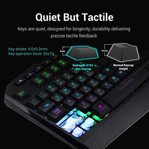 Redragon S101 Wired Gaming Keyboard and Mouse Combo, RGB Backlit Gaming Keyboard with Multimedia Keys, Wrist Rest, PLUS RED LED Gaming Mouse with 3200 DPI for Windows PC Gamers – (Black)