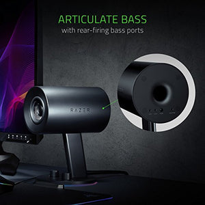 "Razer Nommo Chroma: Custom Woven 3"" Glass Fiber Drivers - Rear-Facing Bass Ports - Bass Knob w/ Automatic Gain Control - Razer Chroma Enabled - Full Range 2.0 PC Gaming Speakers, Black"