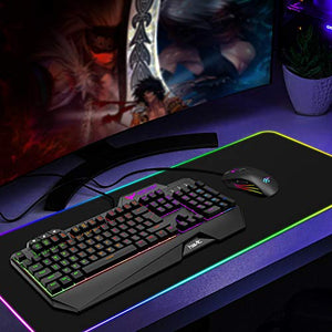 Havit Keyboard Rainbow Backlit Wired Gaming Keyboard Mouse Combo, LED 104 Keys USB Ergonomic Wrist Rest Keyboard, 3200DPI 6 Button Mouse for Windows PC Gamer Desktop, Computer (Black)